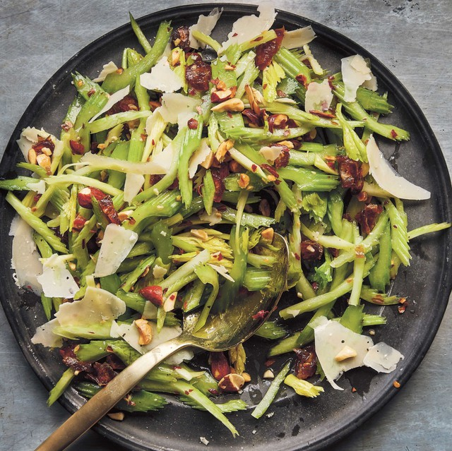 "Joshua McFadden uses celery raw in dishes like this Celery Salad with Dates, Almonds and Parmigiano but later in the season it shows up in creamed soup, as a gratin and braised with roast chicken. Excerpted from ""Six Seasons"" by Joshua McFadden (Artisan Books). Copyright © 2017."