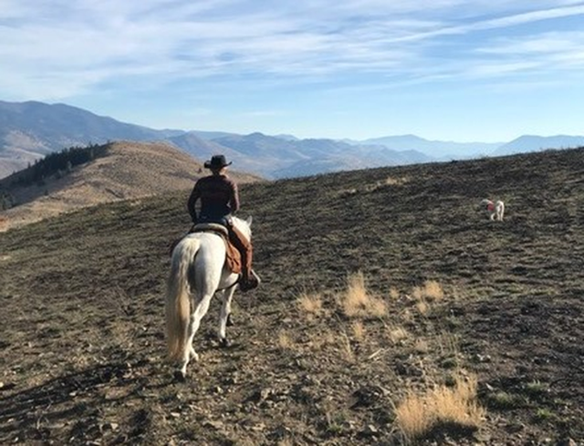 Reporter Ashley Ahearn on horseback in the Methow Valley, Washington.