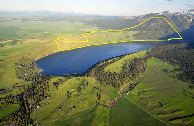 The 1,791 acres alongside Wallowa Lake outlined in this photo in yellow are now owned and managed by Wallowa County.