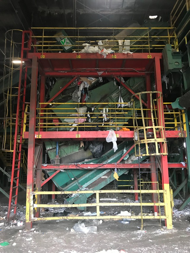 One of the Hillsboro Far West Recycling centers sorting machines had been shut downafterbeing jammed with plastic bags and wraps. The center blocks out at least 90 minutes a day to clear out the machines.