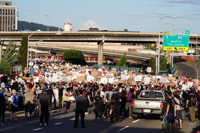 Protesters gather in Portland for a sixth consecutive evening of protest on June 3, 2020, following the death of George Floyd, who was killed by a police officer in Minneapolis.