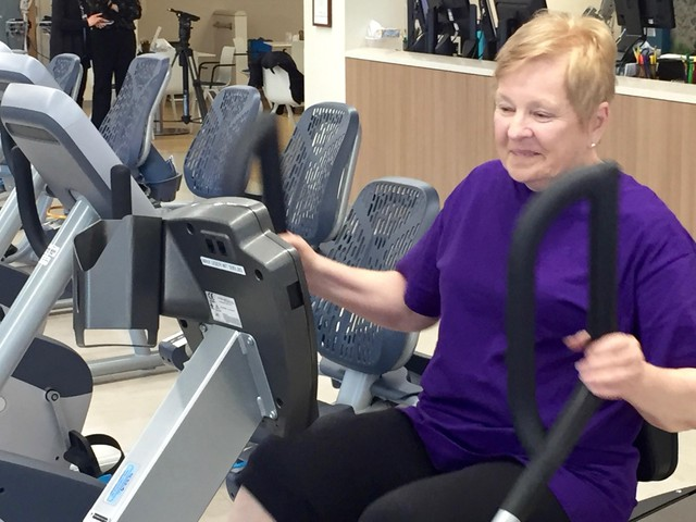 """Retired Intel employee, Elyce Wair, had a heart bypass surgery five months ago and works out with a lot of other heart patients at Providence. She isn't worried that there might be two programs in competition with each other. """"I'm so excited for Oregon. It's wonderful."""""""