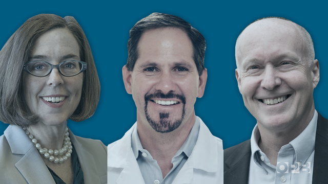 The three major-party candidates in the 2018 race for Oregon governor are Gov. Kate Brown (Democrat), Rep. Knute Buehler (Republican) andPatrick Starnes (Independent).