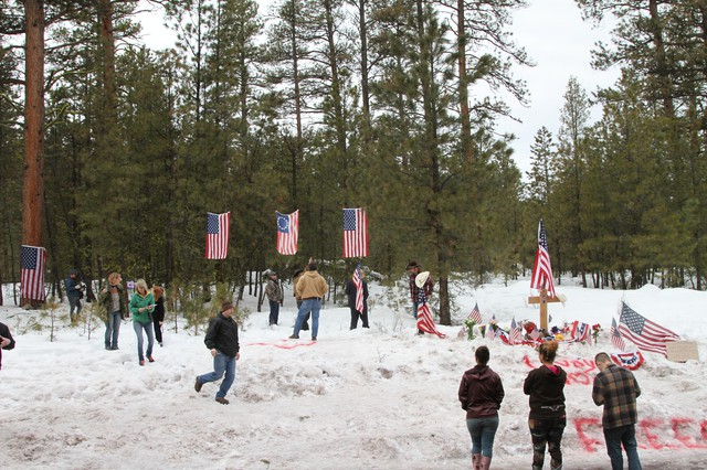Supporters of militant LaVoy Finicum, including members of the Pacific Patriots Network, erected a roadside memorial to Finicum near the spot where he was killed by Oregon State Police on Jan. 26.