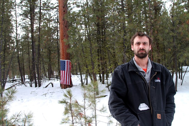Lucas Lynch drove nine hours from Tacoma, Washington, to visit the roadside memorial for Lavoy Finicum.