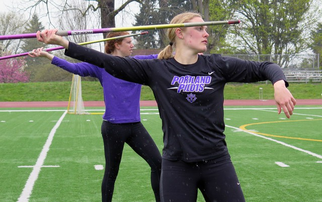 University of Portland senior Kaylie Van Loo, and teammate Pauline Reiley, at practice.