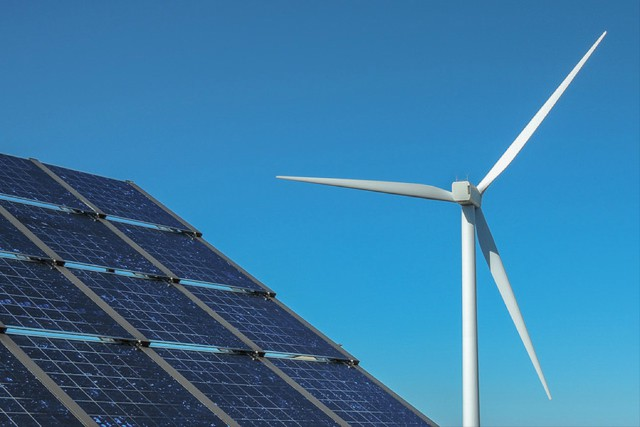 Wind and solar energy production in Washington State.