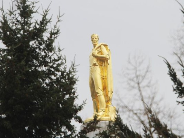 "The Oregon Pioneer, or ""Gold Man,"" stands atop the Oregon Capitol in Salem."