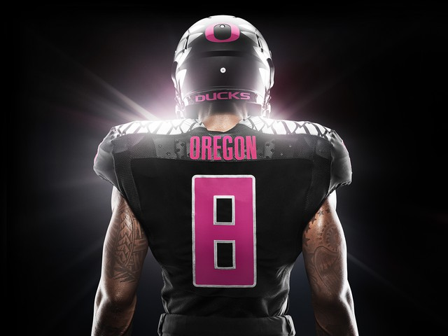 c2cfbe186 The University of Oregon football team will bring back pink for Breast  Cancer Awareness Month. The Ducks will wear their pink accented gear to  their Oct. 2 ...