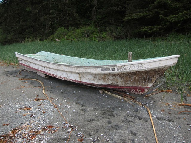File photo of a fishing skiff found on the Washington coast in May 2013.