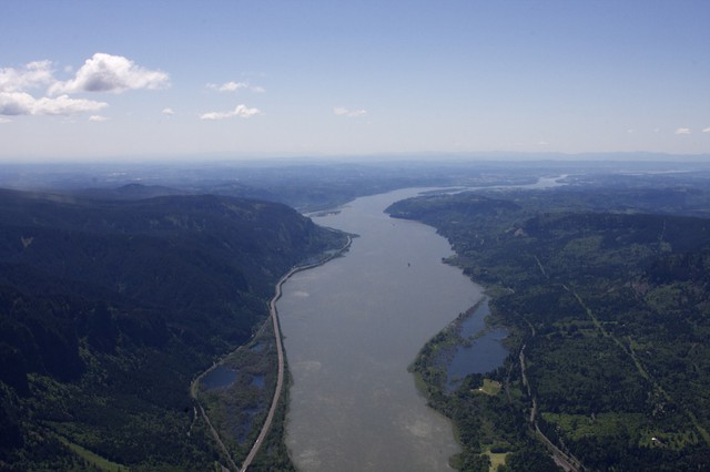 An aerial view of the Columbia River.