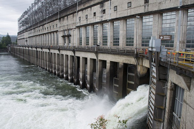The first powerhouse of the Bonneville Dam, 40 miles east of Portland, on the Columbia River.