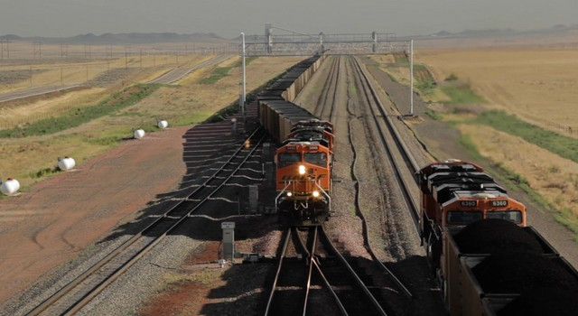File photo of coal trains traveling from a mine in Wyoming.