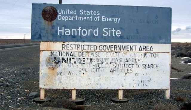 A sign near the Hanford Nuclear Reservation.