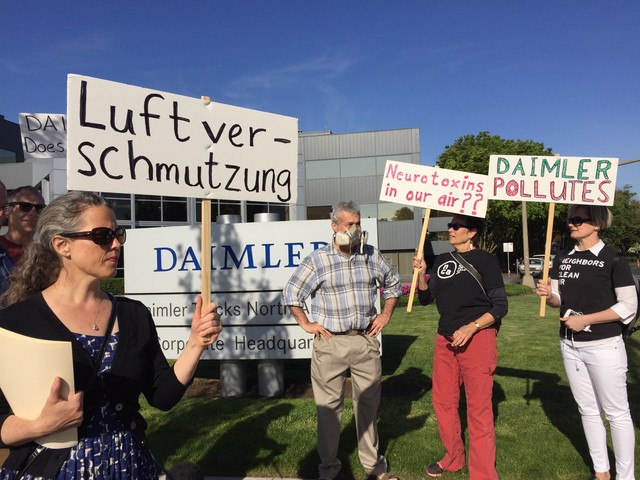 Neighbors of Daimler Trucks North America protest the company's new headquarter opening. Residents nearthe Swan Island truck maker have complained for years about persistent paint odors, but say little has changed.