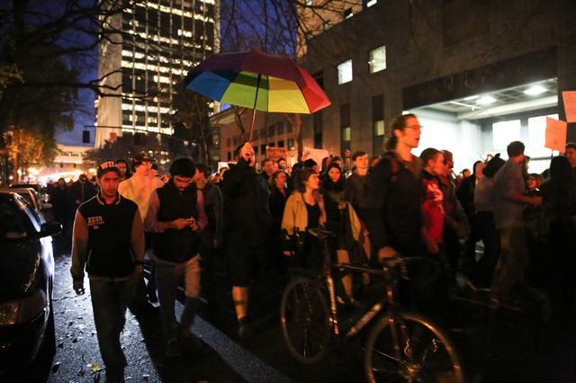 A line of protesters several blocks long marched through downtown Portland Nov. 9 2016, in opposition to the election of Donald Trump.