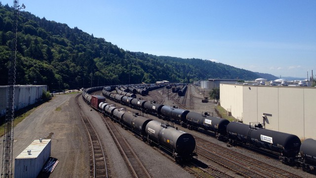 Oil trains in industrial Northwest Portland.
