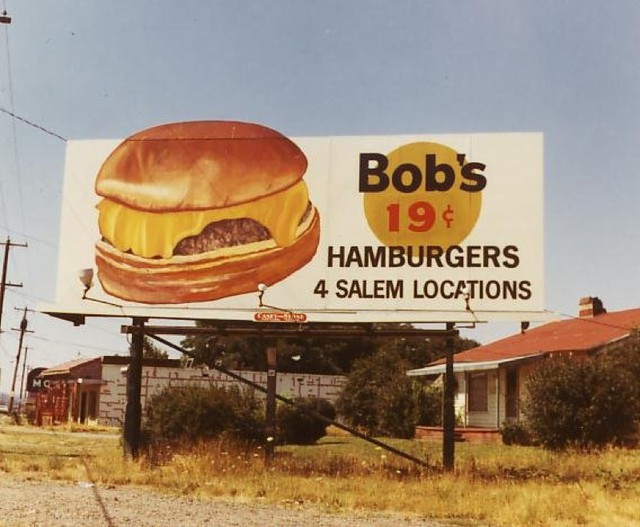 An old Bob's Hamburger billboard in Salem.