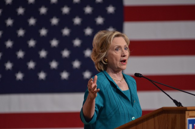 Democratic presidential candidate, former Secretary of State Hillary Rodham Clinton, on July 31, 2015, during a campaign stop at Florida International University in Miami.