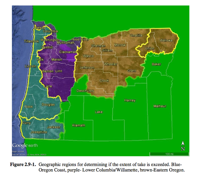 Areas facing new restrictions for development in flood plains along salmon-bearing waterways are the bluish, purple and brown regions on the map. Flood plains in the southeastern (green) section of Oregon do not have threatened salmon and steelhead, and are not affected.