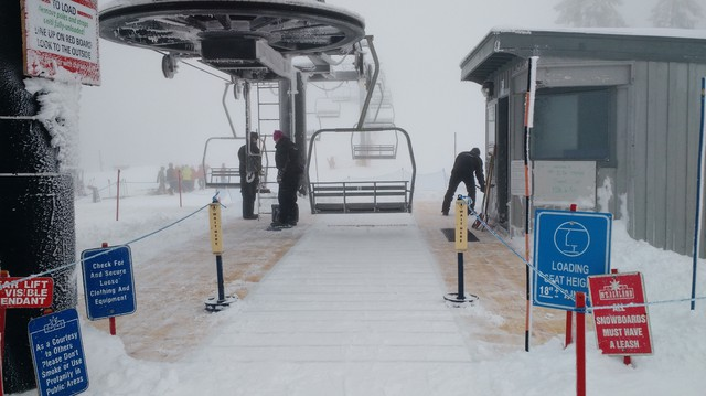 Mt. Ashland built a deck around its chairlift so people can ride it with just an inch of snow on the ground.