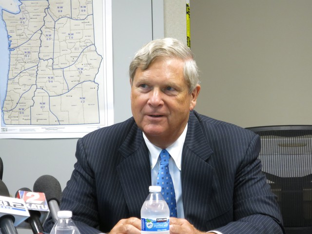 U.S. Department of Agriculture Secretary Tom Vilsack visited Portland to discuss wildfire fighting costs Friday.