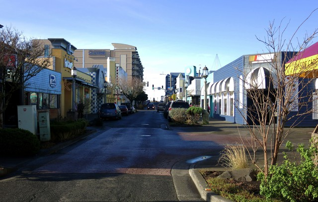 Broadway Street, Seaside. Seaside is one of Oregon's most vulnerable cities according to a 2007 paper by the US Geological Survey