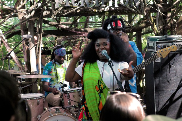 New Orleans' own Tank and the Bangas perform on the Woods Stage Saturday, Aug. 5, 2017, at the Pickathon Music Festival.