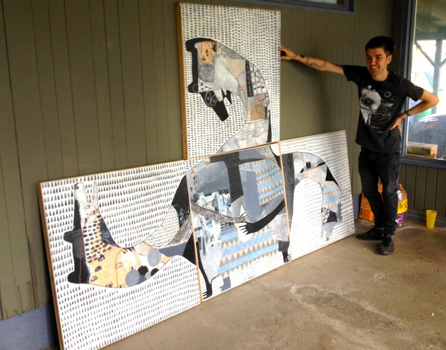 Jesse Narens with his work for the Recycled Rain Project