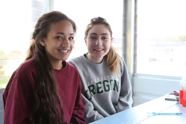 Brooke Ashley Sweet, left, is a junior and Emma Krystyne Burke, right, is a sophomore at Elkton High School. They come to El Gurrero Azteca for lunch once a week or so.