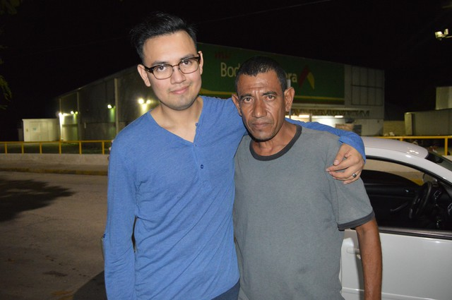 Juan Ramirez (left) with his father in Mexico.