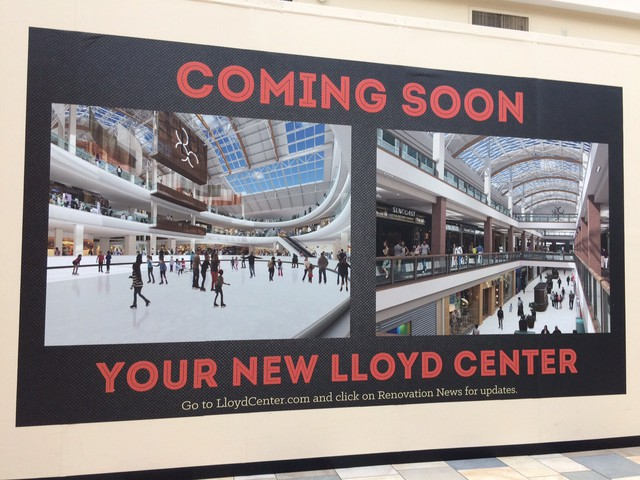A mock-up of the renovations coming to Lloyd Center Mall in Portland hangs in a hallway on the first floor.