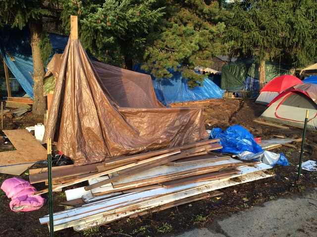 A temporary homeless encampment known as Hazelnut Grove has popped up in Overlook Park in North Portland's Overlook neighborhood.