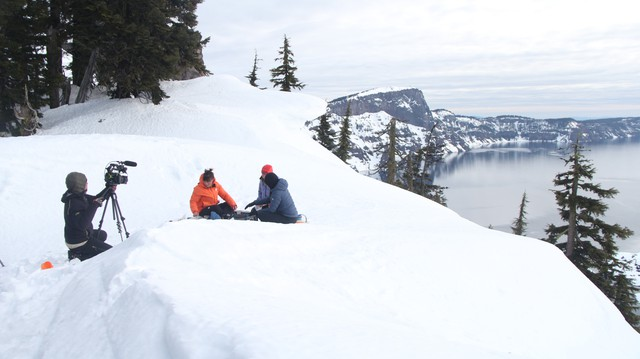 """Oregon Field Guide"" filming on location in Crater Lake National Park."