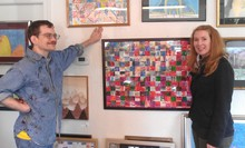 """Although it is difficult for Marquoit to express himself verbally, Passon said she could sense his enthusiasm for the work's colors and patterns. """"I really wanted to get a sense of who he was as an artist,"""" she says. """"It's very hard to collaborate with another artist if you don't know who they are."""""""