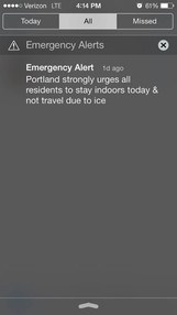 The Wireless Emergency Alert message distributed to Portland-area cell phones on Sunday.