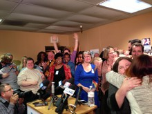 Celebrations begin at the headquarters of Oregon United For Marriage after a judge's ruling Monday.