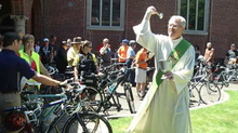 Dean Thomas Gornick presides over the Archdiocese of Portland's blessing of the bikes.