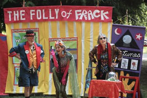 "Jim Plunkett, Jan Zuckerman, and Bonnie McKinlay (left to right) perform in an original skit titled ""The Folly of Frack""."