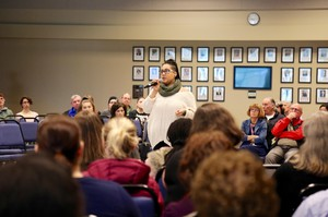 Students, faculty and community members gather at Clark College to discussreports ofrecent hate incidents on campus. Lexi Peterson-Burge, a student, talks about her own experiences of racism at the school.