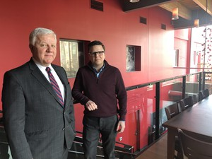 Artists Repertory Theatre's board chair, Mike Barr (left), and Artistic Director Damaso Rodriguez at the company's downtown headquarters.