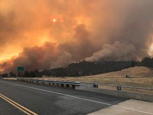 The Klamathon Fire which started July 5, 2018,burns its way along the California-Oregon border.
