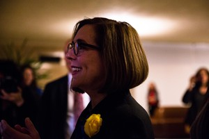 Oregon Gov. Kate Brown waits to enter the House chamber for her inaugural address on Monday, Jan. 14, 2019 at the Oregon Capitol in Salem, Ore.