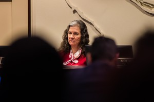 Commissioner Amanda Fritz listens to testimony at City Hall in Portland, Ore., Wednesday, Feb. 13, 2019.