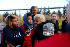 Carlos Hunter's sister, Pam, remembers her brother, who was shot and killed by Vancouver police, at a vigil Sunday, March 10.