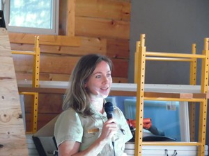 Erin Phelps, Ninemile District Ranger on the Lolo National Forest in Montana, speaks at a community briefing during the 2017 fire season.