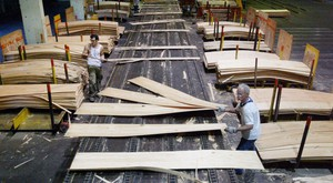 Workers at the Roseburg Forest Products Plywood Plant in Dillard, Ore., are seen pulling veneer along a plywood production line on April 26, 2004.