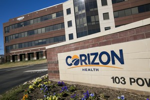 A logo sign outside of the headquarters of Corizon Health, Inc., in Brentwood, Tenn. on Feb. 4, 2017.