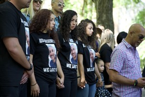 Jason Washington's family holds a press conference on the Portland State University campus on the week anniversary of his death.