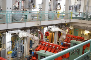 Motors control the flow of wastewater in and out of the West Point Treatment Plant, inside Seattle's Discovery Park. The effluent is released into Puget Sound, about three quarters of a mile offshore.